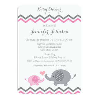 "Elephant Baby Shower Invite | Pink Gray Chevron 5"" X 7"" Invitation Card"