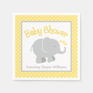 Elephant Baby Shower Napkins | Yellow and Gray Disposable Serviette
