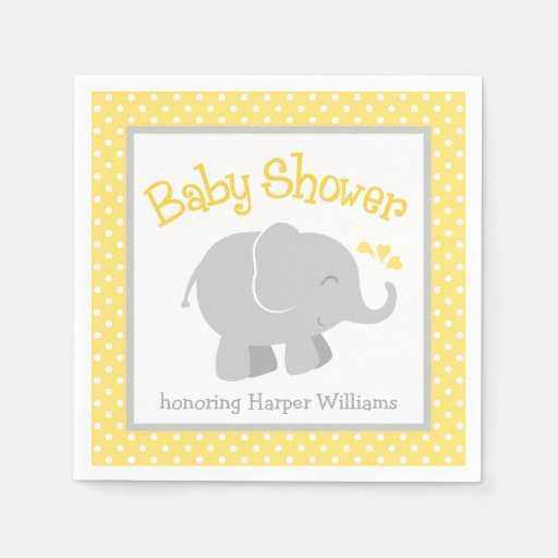elephant baby shower napkins yellow and grey disposable napkins