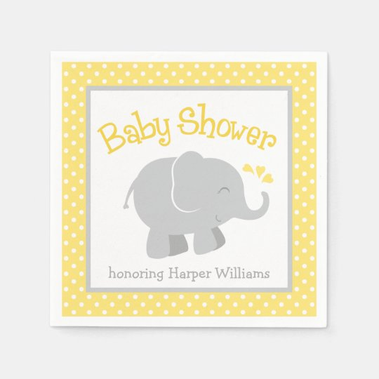 Elephant Baby Shower Napkins | Yellow and Grey