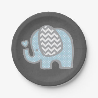 Elephant Baby Shower Paper Plates for Boy 7 Inch Paper Plate