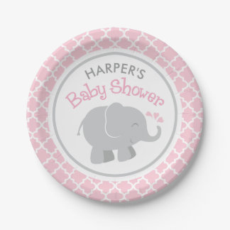 Elephant Baby Shower | Pink and Gray Paper Plate