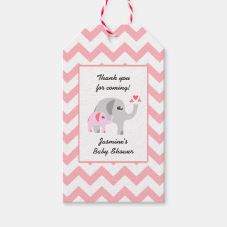 Elephant Baby Shower Pink and White Gift Tags
