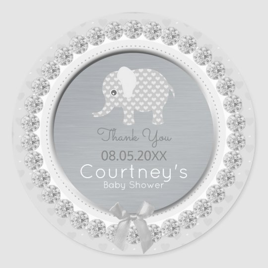 Elephant Baby Shower Silver Grey Thank You Favour Classic Round Sticker