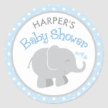 Elephant Baby Shower Stickers | Blue and Grey
