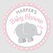Elephant Baby Shower Stickers | Pink and Gray