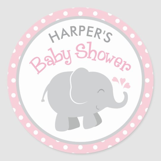 Elephant Baby Shower Stickers | Pink and Grey