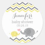 Elephant Baby Shower Stickers Yellow Grey Chevron