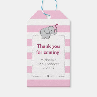 Elephant Baby Shower Tag - Girl