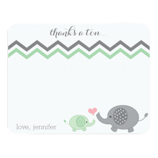 Elephant Baby Shower Thank You Green Gray Chevron 11 Cm X 14 Cm Invitation Card
