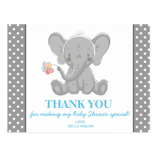 Elephant Baby Shower Thank You Note Polka Dots