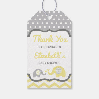 Elephant Baby Shower Thank You Tag, EDITABLE COLOR