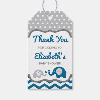 Elephant Baby Shower Thank You Tag, EDITABLE COLOR Gift Tags