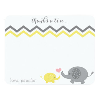 Elephant Baby Shower Thank You Yellow Gray Chevron 11 Cm X 14 Cm Invitation Card