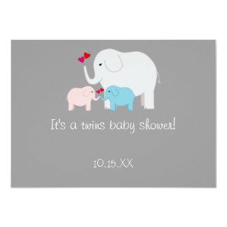 Elephant Baby Shower Twins Boy Girl 11 Cm X 16 Cm Invitation Card