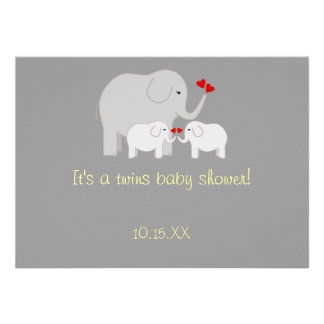 Elephant Baby Shower Twins Gender Neutral Invitations