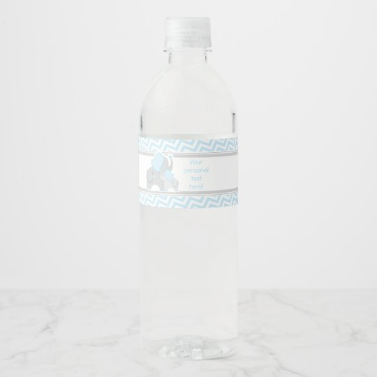 Elephant Baby Shower Water Bottle Label Blue Grey