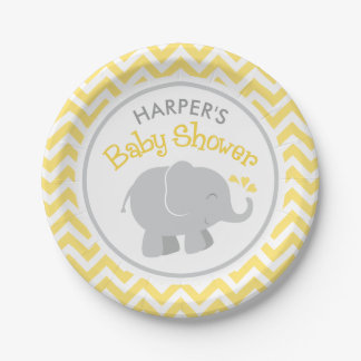 Elephant Baby Shower | Yellow and Gray 7 Inch Paper Plate