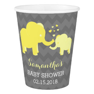 Elephant Baby Shower Yellow and Grey Paper Cups
