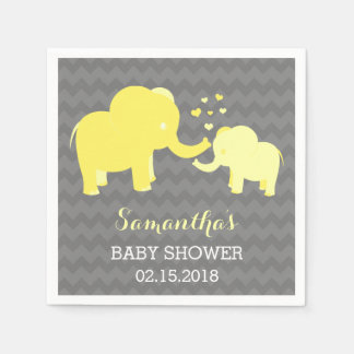Elephant Baby Shower Yellow and Grey Paper Napkins
