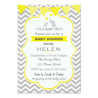 Elephant Baby Shower Yellow Chevron Invitation