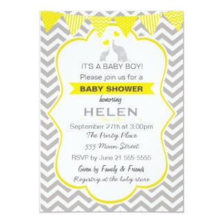 Elephant Baby Shower Yellow Chevron Invitation