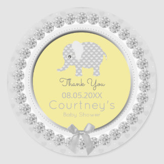 Elephant Baby Shower Yellow Gray Thank You Favor Classic Round Sticker
