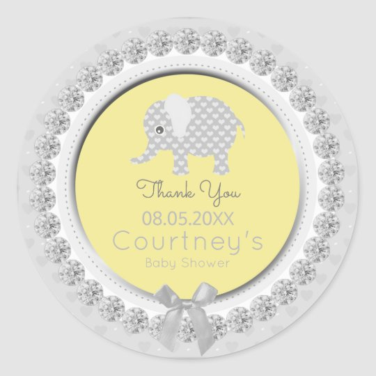 Elephant Baby Shower Yellow Grey Thank You Favour