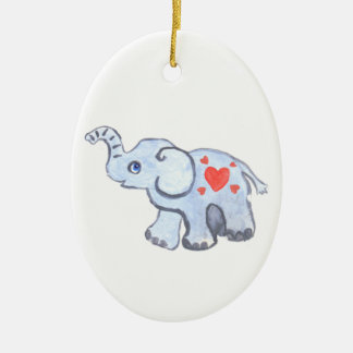 elephant baby with hearts christmas ornament