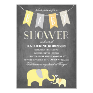 Elephant Baby Yellow | Baby Shower Invitation
