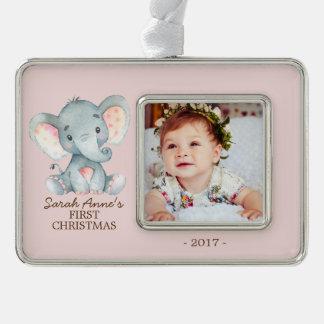 Elephant  Baby's 1st Christmas Photo Ornament