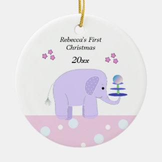 Elephant Baby's First Christmas Christmas Ornament