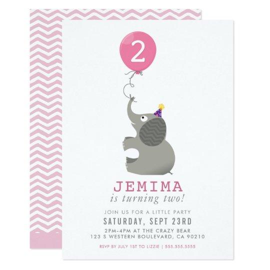 ELEPHANT & BALLOON cute birthday party invite pink