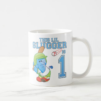 Elephant Baseball 1st Birthday Basic White Mug