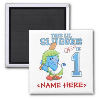 Elephant Baseball 1st Birthday Square Magnet