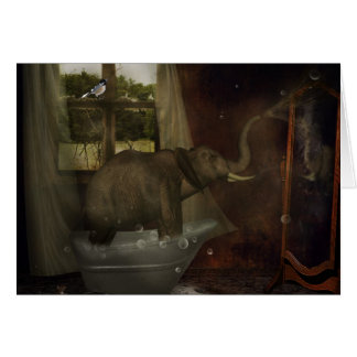 Elephant Bath Greeting Card