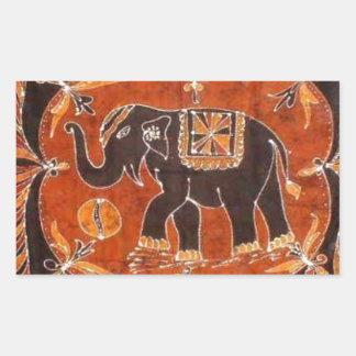 Elephant Batik Rectangular Sticker