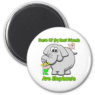 Elephant Best Friends 6 Cm Round Magnet