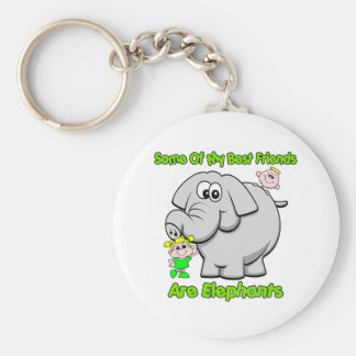 Elephant Best Friends Basic Round Button Key Ring
