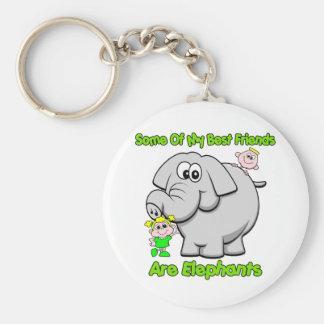 Elephant Best Friends Basic Round Button Key Ring