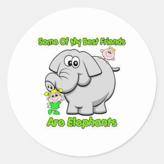 Elephant Best Friends Round Sticker