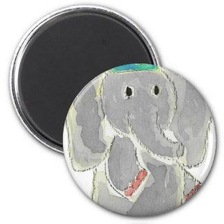 Elephant Birthday Hat 6 Cm Round Magnet