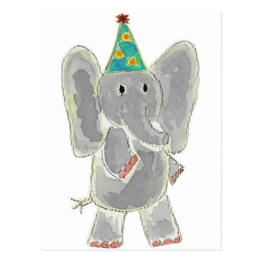 Elephant Birthday Hat Postcard
