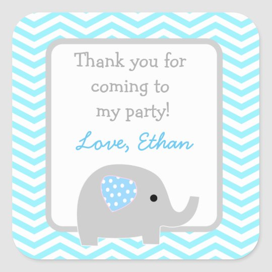 Elephant birthday party favour stickers
