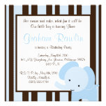 elephant birthday party invite cute fun brown blue