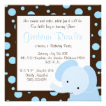 elephant birthday party invite cute fun brown blue