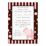 elephant birthday party invite cute fun brown pink