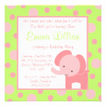 elephant birthday party invite cute fun green pink