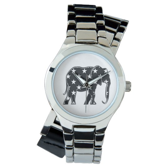Elephant Black Silhouette Cool Star Pattern Trendy Watch