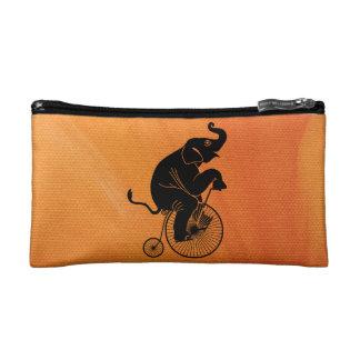 Elephant Black Silhouette Riding a Bike Cosmetic Bag